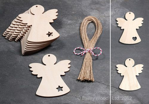 10 x Wooden Angel Fairy Gift Tag Blank Plain Shapes Christmas Tree Decoration | eBay