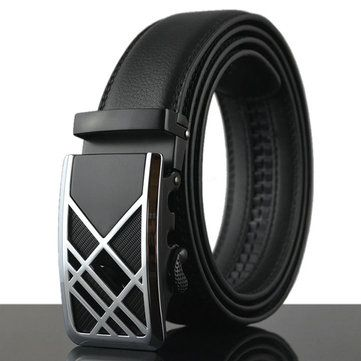 125-130CM Fashion Mens Business Genuine Leather Belt Casual Durable Automatic Buckle Belt at Banggood