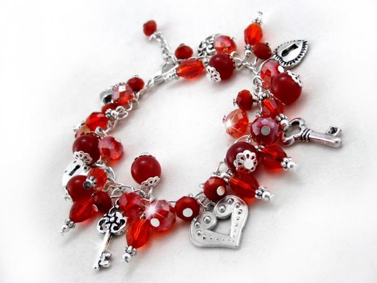Valentine Bracelet $24.00   Beaded Charm Bracelet. Swarovski Crystal, Jade,  Faceted Glass Beads