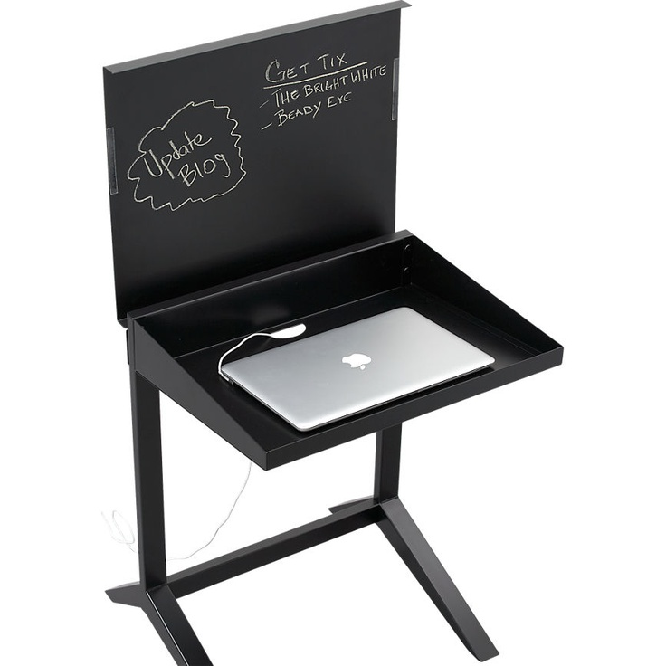 tucker black chalkboard laptop table in office furniture cb2