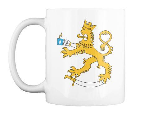 Suomalainen voi nyt juoda kahvia mukista, jossa suomileijona juo kahvia muumimukista. Awww, täydellistä kun kuvakin vielä molemmin puolin!  #muumimuki #suomileijona #suomileijonamuki #isanmaallinen #suomi #suomalainen #kahvi #muki #kahvimuki #muumipeikko #suomenleijona