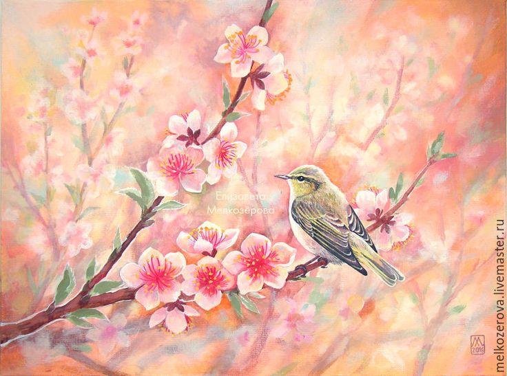 """Купить Картина """"Цветение персика"""" - персиковый, персиково-розовый, кремовый, пудровый, нежно-розовый"""