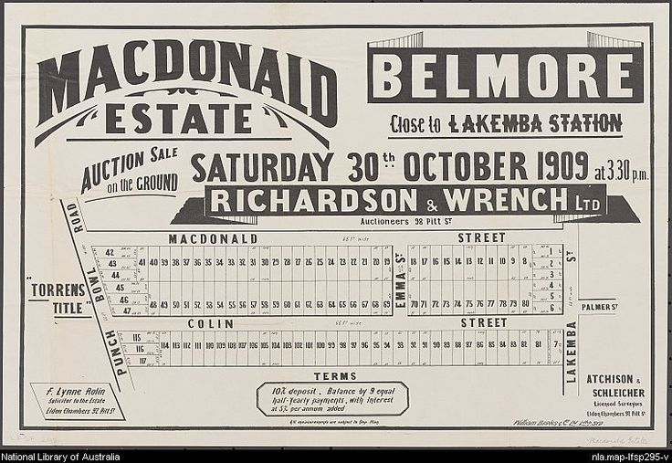 MacDonald Estate, Belmore: close to Lakemba Station. Sales plan for land in the suburb of Lakemba in Sydney bordered by Lakemba Street, MacDonald Street, Colin Street and Punch Bowl Road. Courtesy National Library of Australia.