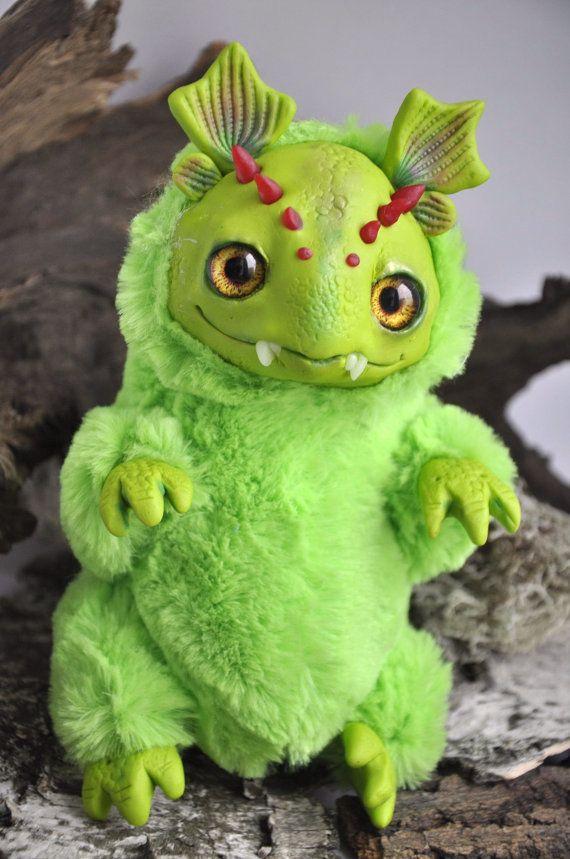 FANTASY PLUSH ANIMAL Mossy Dragon Ooak Fantasy by FoxyMocksy