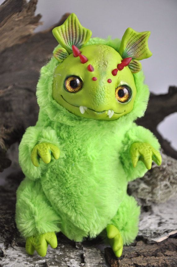 FANTASY PLUSH ANIMAL Mossy Dragon Ooak Fantasy by FoxyMocksy
