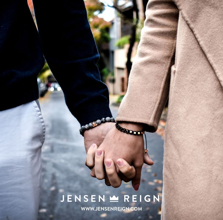 Bracelets by Jensen Reign. Matt Grey Jasper with solid 925 silver skull and crown finished in 18kt Rose Gold for him and solid 925 Cubes finished in 18kt Rose Gold for her.