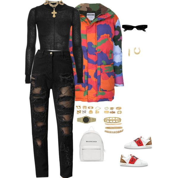 A fashion look from February 2018 featuring Moschino jackets, Tommy Hilfiger jeans and Balenciaga backpacks. Browse and shop related looks.