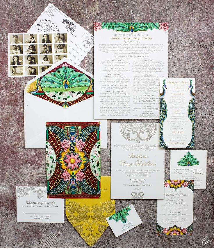 Our Muse - Wedding Invitations - Be inspired by Reshma Shetty & Deep's Indian wedding in New York City at Gotham Hall, New York City - digital printing, foil printing, invitations, letterpress printing, watercolor painting, wedding