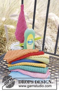 "Summer Jolly - Knitted DROPS kitchen cloths in ""Paris"". - Free pattern by DROPS Design"