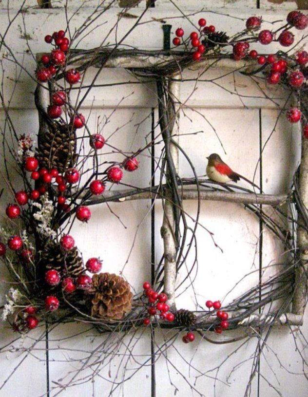 Gather some twigs in your backyard to make your own festive wreath. Add some pinecones & berries from your local craft store, and voila :)