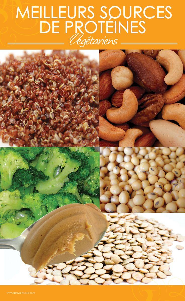 Les meilleurs sources de protéines végétales sont :  - Le quinoa  - Les noix  - Les brocolis  - Le beurre de cacahuète  - Les graines de soja  - Les lentilles
