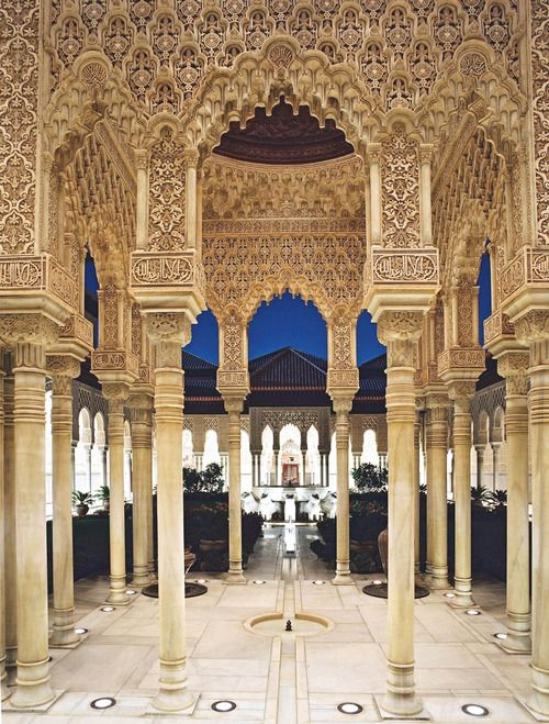 "Alhambra in Granada, Andalusia, Spain. This palace and fortress complex is a stunning example of Muslim architecture constructed during the mid 14th century. In the words of many a Moorish poet, it is a ""pearl set in emeralds."""