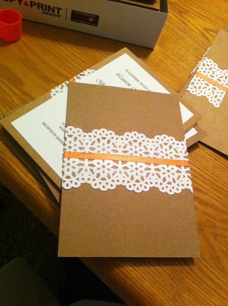 DIY wedding invitation...bought a Martha Stewart lace ...