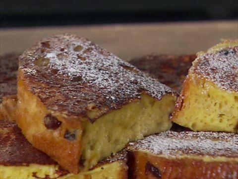 Giada's Panettone French Toast : Panettone, Italian Christmas bread, makes a fabulous holiday French toast.