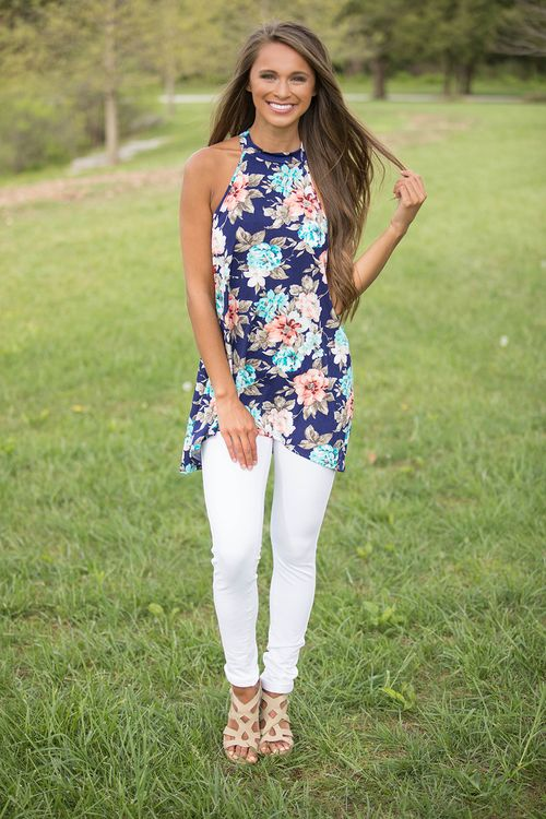 At Dawn's First Light Floral Tank - The Pink Lily