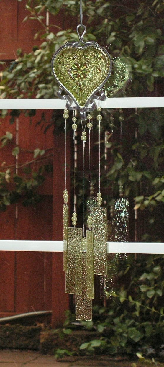 Depression Glass WIndchime Stained Glass by SerendipityGlassWrks
