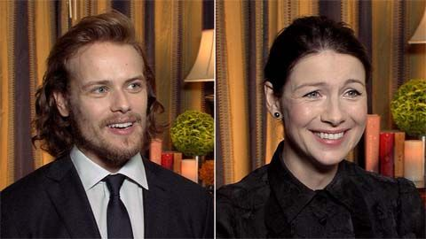 'Outlander's' Sam Heughan and Caitriona Balfe answer fan questions, including the worst job they ever had and their current guilty pleasures.