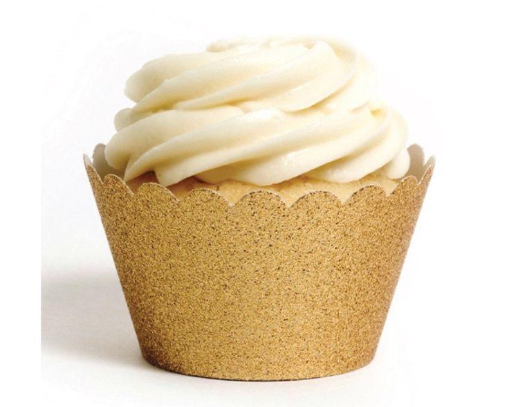 Gold Glitter Cupcake Wrapper - Undercover Hostess