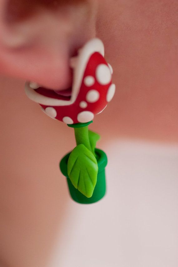 Super awesome accessory for any Mario fan! This Piranha Plant earring set made of polymer clay.
