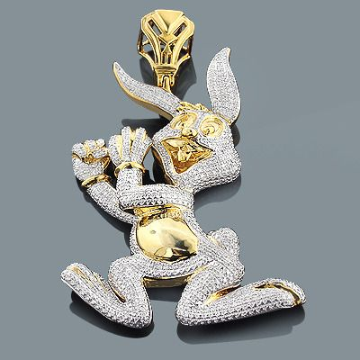 107 best custom diamonds yes images on pinterest round diamonds real custom jewelry diamond bugs bunny pendant 248ct gold plated silver mozeypictures Image collections