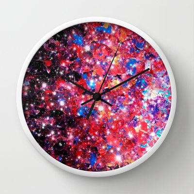 WRAPPED IN STARLIGHT Bold Colorful Abstract Acrylic Painting Galaxy Stars Pink Red Purple Ombre Sky Wall Clock by EbiEmporium - $30.00 colorful #abstract #art #fineart #painting #whimsical #space #galaxy #ombre #pink #purple #decor #homedecor #modern #dorm #bedroom #clock #wallclock #wallart #art #stylish #style #stars