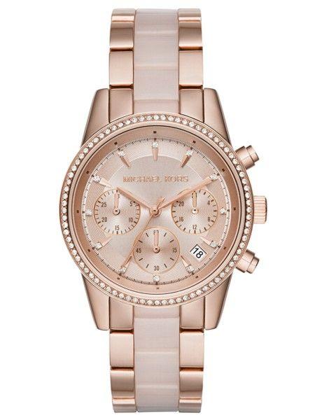 Michael Kors Womens Ritz Rose-Tone Gold Chronograph Dial Two-Tone Bracelet  Watch