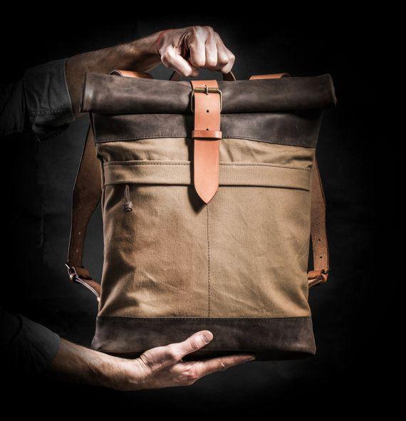 Lona y cuero mochila mochila superior rollo por Kruk por KrukGarage