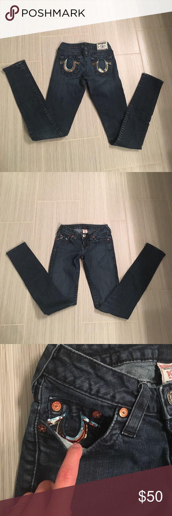 True Religion rainbow sequin skinny jeans True religion jeans with rainbow sequin back pockets. So fun! True Religion Jeans Skinny