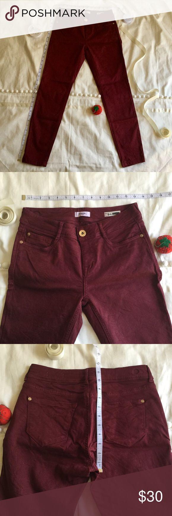 "Kensie Jeans Skinny Jeans in Burgundy Skinny jeans in burgundy by Kensie Jeans. Effortless Ankle Biter style. Size 25. ~36.5"" length, ~13"" waist, ~27.5"" inseam. Gently worn a few times. Kensie Jeans Skinny"