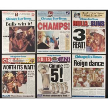 chicago bulls championship trophies | ... chicago sun times covers from the six chicago bulls world championship