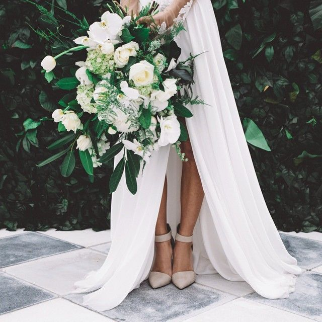 Loving The Blush Pink Shoes Airy White Dress And The Greenery Of The Bouquet