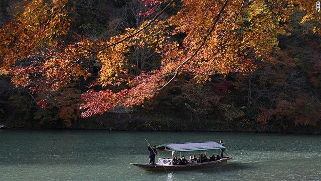 JAPAN: Hozugawa Kudari, or Hozu River Boat Rides, are popular in the fall, when the leaves change color. Many opt to take the train to Kameoka, then hop on the boat for the two-hour ride back to Arashiyama.