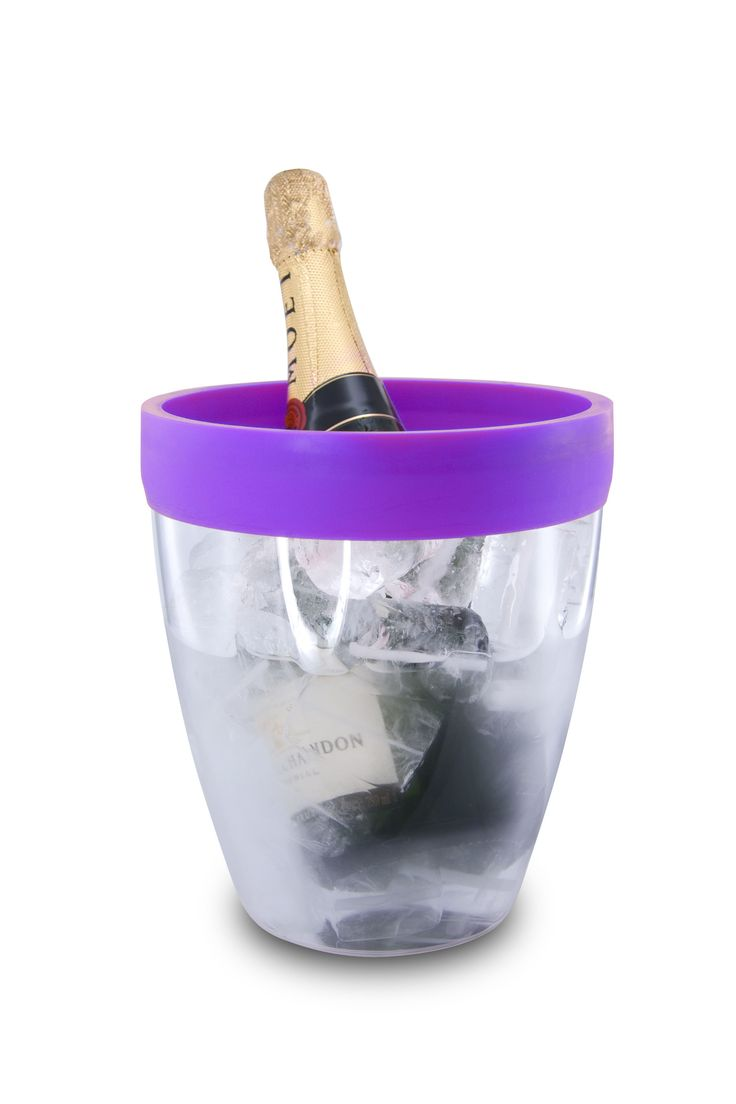 Pulltex Silicone Top Ice Bucket - Purple. The transparent acrylic chilling bucket is very light, practical and strong. It is the first bucket to offer a silicone border to cushion the bottle and help eliminate dripping when the bottle is removed from the bucket.
