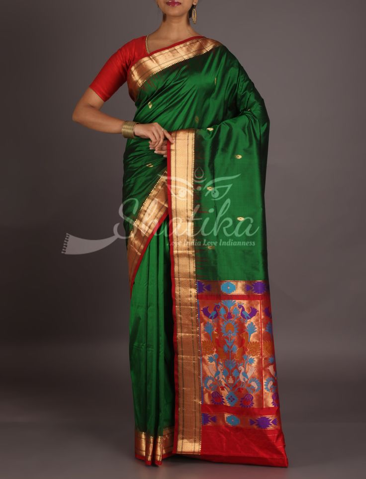 Meghna Bottle Green With Classic Red Ornate Border Pallu Bangalore Silk Saree