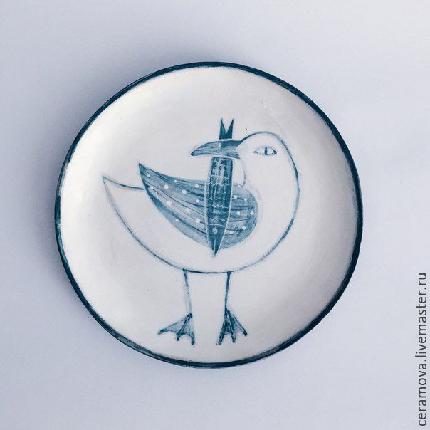 Купить Тарелка с росписью. - Керамика, керамика ручной работы, керамическая посуда, тарелка, морская тема