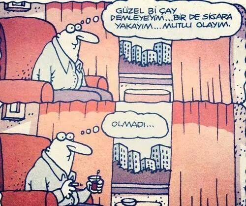 Çay sigara karikatür komedi