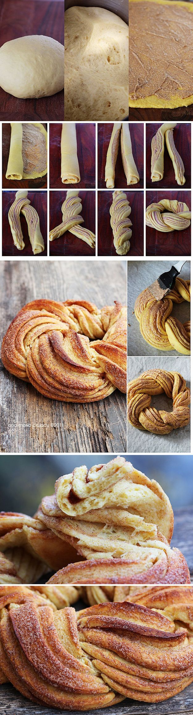 Twist Bread pattern. Make it with any filling, this one is dark spices and brown sugar but I'm going to make different versions. It just looks great.  Could also Make with canned/frozen dough (crescent, biscuit, pastry)  Idea from Estonian Kringel bread
