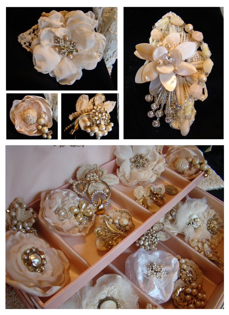 Handmade brooches using antique jewelry and lace. Custom designs available using your heirloom jewelry.