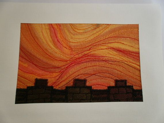 Sunset Textile Art by wendieshouse on Etsy