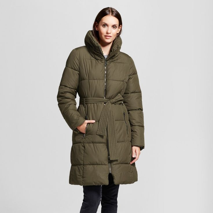 Women's Puffer Coat with Pillow Collar - Mossimo Olive (Green) Xxl