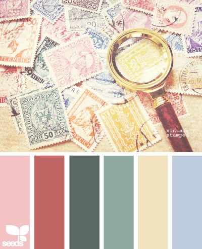 vintage stamped color palette - periwinkle, linen, aloe essence, sabal palm, puce and tea rose