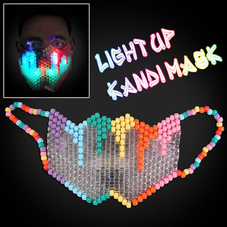 Rainbow Kandi Mask with LED Lights - Flashingo