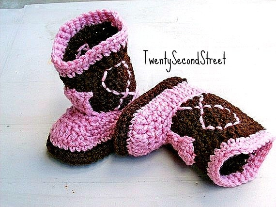 Cowgirl Baby Booties  Dark Brown & Light  by TwentySecondStreet, $16.00