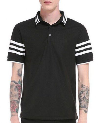 Black and white striped polo shirt for men short sleeve