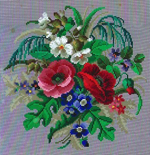 Berlin WoolWork Bouquet Pattern ~ Heinrich Kuehn Berlin