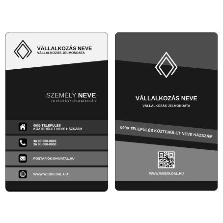 Üzleti névjegykártya tervek (álló elrendezés) Szürke / Fekete