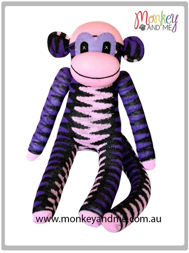 Pale Pink Purple Black chevron sock Monkey   Adopt over at monkeyandme.com.au #sockmonkeys #gifts #toys
