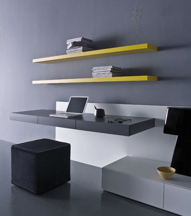 pianca ultra modern office desks layout floating desks and shelves great for macs and microscopes greys and whites contrasted with bright shelves will