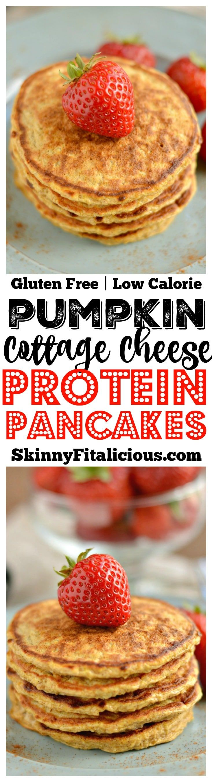 Fluffy Pumpkin Protein Pancakes made with cottage cheese and fall inspired flavors, make a high protein breakfast. A healthy way to start your day! Low Calorie + Gluten Free