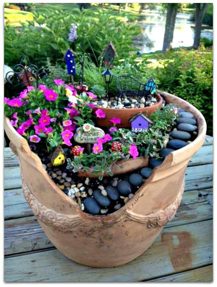 Broken pot = fairy garden                                                                                                                                                                                 More